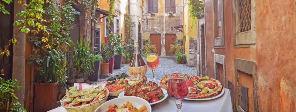 Italian dishes on street in Italy